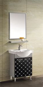 Stainless Steel Bathroom Cabinet with Ceramic Basin (T-9578) pictures & photos