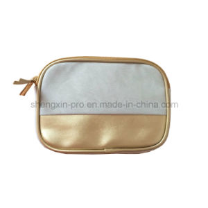 Blue Leather Cosmetic Bag for Women with Golden Zipper pictures & photos