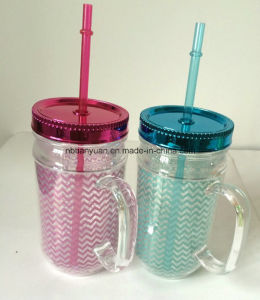 16oz Plastic Cup with Straw and Lid pictures & photos