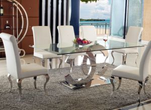 Stainless Steel Glass Dining Table for Home or Restaurant (SDT-017)