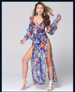 Sexy Casual Dress Long Sleeve Deep V Neck Two Split Printing Long Maxi Dress pictures & photos