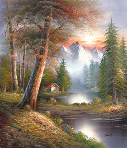 Handpainted Paintings of Modern Trees Landscape Art on Canvas Birch Tree by The Lake Scenery (LH-348000) pictures & photos