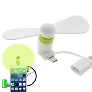 Portable Handheld Electric Micro USB 8 Pin 2 in 1 Mini Fan for iPhone 7 7 Plus Android pictures & photos