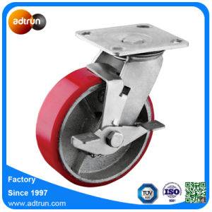 Heavy Duty PU Steel Industrial Casters with Wheel Lock Brake pictures & photos