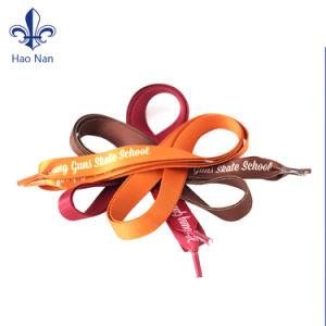 Various Color Eco-Friendly Custom Fabric Silk Screen Logo Shoelace pictures & photos