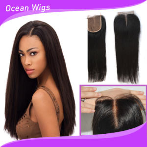 "Swiss Lace 3.5*4"" Remy Straight Indian Human Hair Closure (CL-021) pictures & photos"