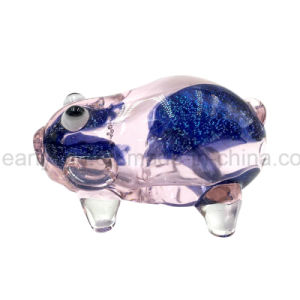 Inside-out Blue Flicker Frit Pink Pig Glass Hand Pipe (ES-HP-148) pictures & photos