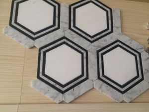 Black Mixed White Carrara White Marble Hexagon Design Water Jet Mosaic Decorated pictures & photos