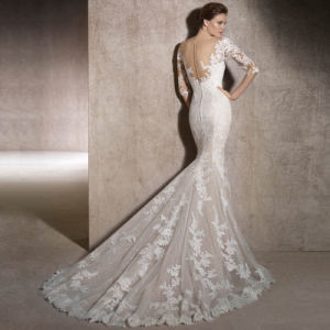 3/4 Sleeves Bridal Gowns Lace Appliques Wedding Dress 2018 Lb1901 pictures & photos