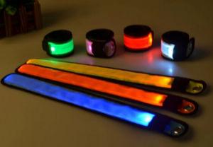 Night Running Cheap Custom Logo Printing LED Flashing Slap Bracelets