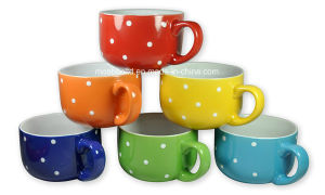 Colored Ceramic Coffee & Soup Mugs/Bowl with Lid for OEM Customer pictures & photos