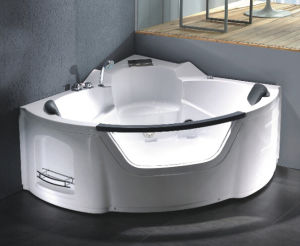 Corner Skirted Double Whirlpool Massage Bath Tubs with Handle pictures & photos