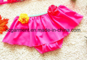 Girl′s Flowers Printed Accessories Swimming Suit, Lace Lovely Bikini Swimming Wear pictures & photos
