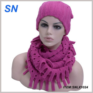 Winter Scarf Wholesale Women Acrylic Scarf Hats Set (SNLX1024) pictures & photos