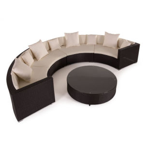PE Rattan Waterproof Outdoor Round Furniture Wicker Sofa Furniture (S0051)