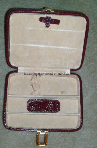 Vintage Travel Multi Red and Beige Jewelry Case with Handle and Clasp pictures & photos