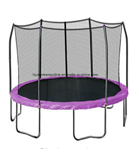 12FT Purple Ground Trampoline with 6 Legs and Safety Enclosure Net for Playing pictures & photos