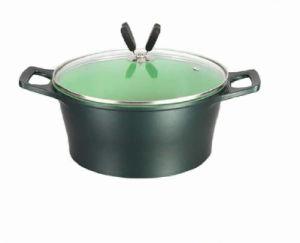 Ceramic Coating Sauce Pot with Lid Green (UK-CS01)