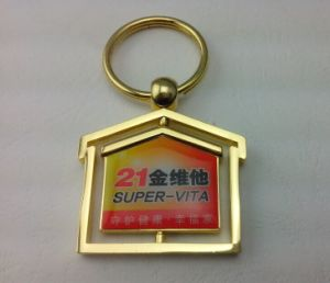 Offset Printed House Keychain with Gold Plated (GZHY-KC-018) pictures & photos
