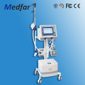 CE & ISO Approved Medical Trolley Ventilator Mf-H-900b II with Air-Compressor pictures & photos