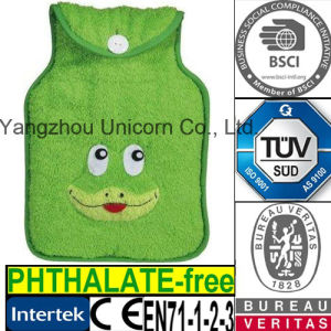 CE Green Frog Hot Water Bottle Fleece Coral Cover
