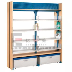 Hot Sale Wooden Frame 4 Layer Open Book Shelf with 2 Doors Cabinet at Bottom for Library pictures & photos