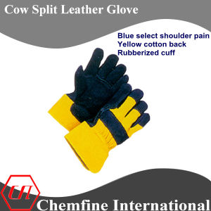 Blue Select Shoulder Palm, Yellow Cotton Back, Rubberized Cuff Leather Work Gloves pictures & photos