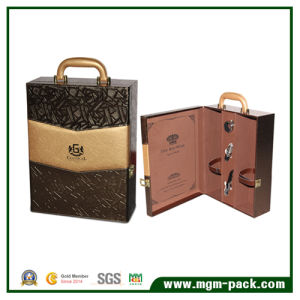 Mixed-Color Luxury 2 Bottle Wood Wine Box pictures & photos