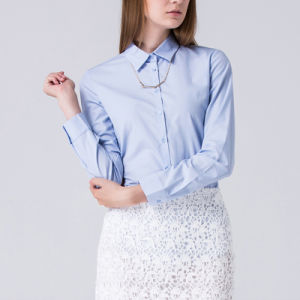 Customized Western Women Light Blue Classic Collar Cotton Business Shirt pictures & photos