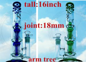 Colored EXW Dual Birdcage Percolator High Quality Recycler Tobacco Glass Smoking Water Pipe pictures & photos