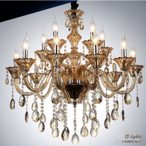 15-Lights Similar Gold Modern Crystal Chandelier Lamp Lighting, 15 X E14 Maximum 40 W Bulb Diameter 80 Cm Cognac Crystal Drops pictures & photos