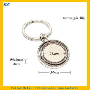 Three Layers Circle Round Shape Rotating Zinc Alloy Blank Spinning Keychain pictures & photos