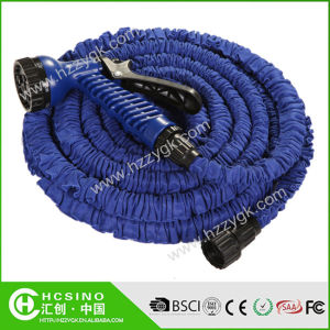 Expandable Garden Rubber Water Hose with Universal Faucet and Doule Layers Inner Tube