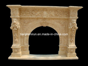 Beige Marble Lion Carving Fireplace (FRP317) pictures & photos