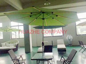 Solar Garden Umbrella Outdoor Umbrella Parasol with LED Light Umbrella (Hz-S72) pictures & photos