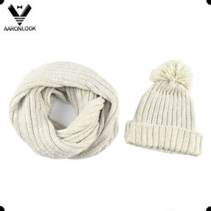 Thick Knitted Neck Scarf and Hat with Pompom pictures & photos