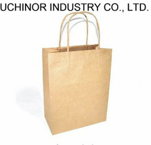 Eco Printed Cheap Recycled Brown Kraft Paper Carrier Bags Manufacturer pictures & photos