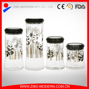 Wholesale Glass Jar with Lid Golden Printing pictures & photos