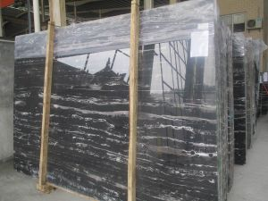 China Polished Natural Stone Black Silver Dragon Marble Tile for Floor, Bathroom pictures & photos