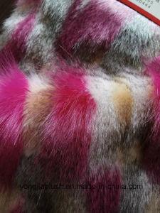 White Plain Rose Red Jacquard Faux Fur pictures & photos