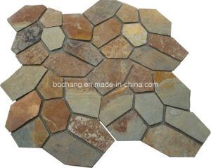 Random Slate Tile Mesh Flagstone Paving Slate pictures & photos
