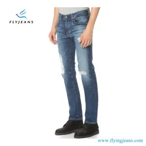 Top Grade Men Slim Whiskered Stretch Denim Jeans pictures & photos