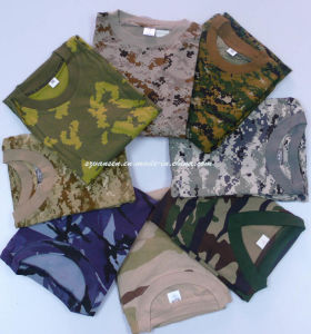Latest Design Military Camouflage V Neck T-Shirt pictures & photos