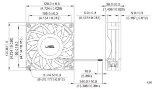 DC12038 Axial Fan 370g/120X120X38mm Ball Bearings, Pressure Boost pictures & photos