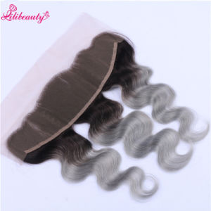 8A Peruvian Virgin Hair 1b Grey Ombre Lace Frontal Body Wave pictures & photos