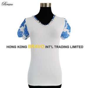 New Fashion Ladies V Neck Short Sleeve Knitting Pullover Sweater (BR042)