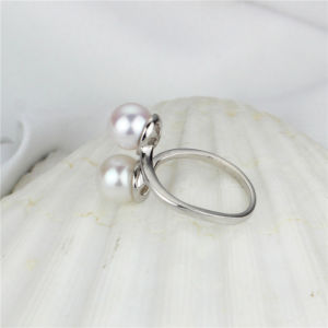 Double Button Genuine Pearl Jewelry Ring pictures & photos