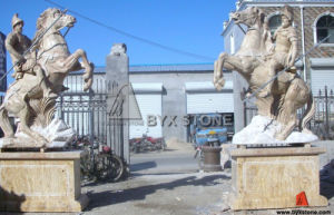 Marble Stone Animal Carving Horse Sculpture for Garden Decoration pictures & photos