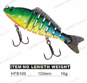 Hard Plastic Section Fishing Lure with Rubber Tail (HFB100) pictures & photos