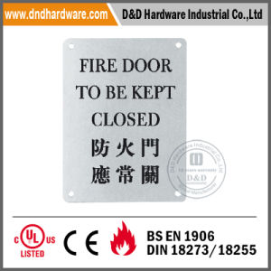 Square Stainless Steel Sign Plate for Fire Door pictures & photos